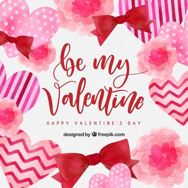 Watercolor valentine's day background with hearts and ribbons Free Vector