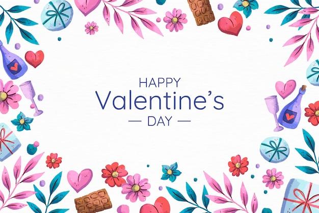 Fondo di san valentino dell'acquerello con i cuori Vettore gratuito