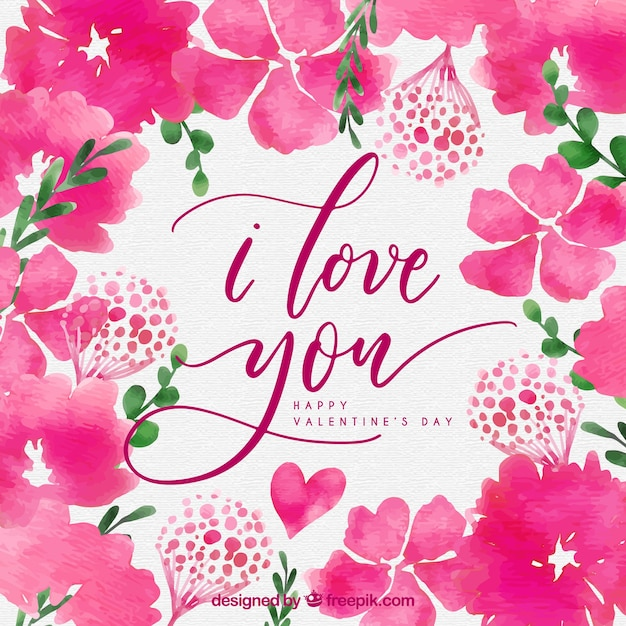Watercolor valentine's day background with pink flowers Free Vector