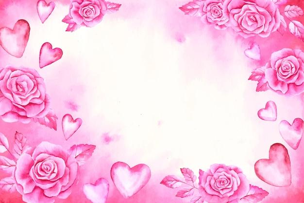 バラとピンクのハートと水彩のバレンタインデーの背景 無料ベクター