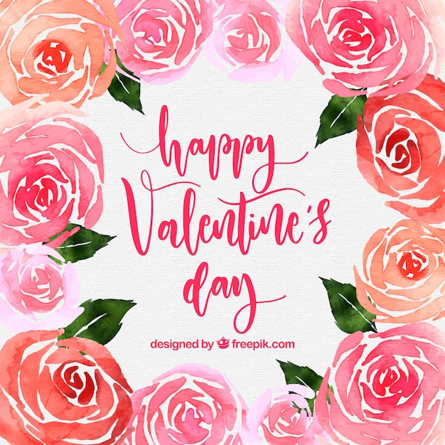Watercolor valentine's day background with roses Free Vector