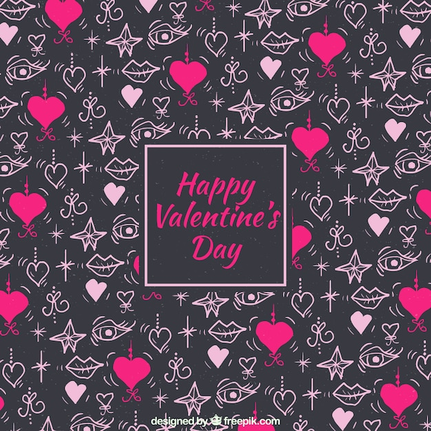 Watercolor valentine's day background with small hearts and stars Free Vector