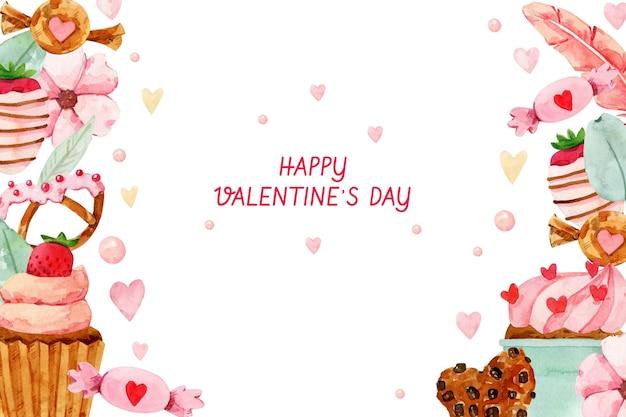 Priorità bassa di giorno di san valentino dell'acquerello con i dolci Vettore gratuito