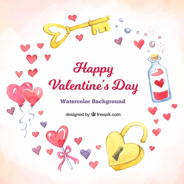 Watercolor valentine\'s day background