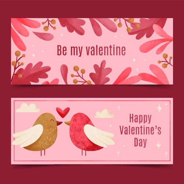 Акварельные баннеры на день святого валентина с птицами Бесплатные векторы