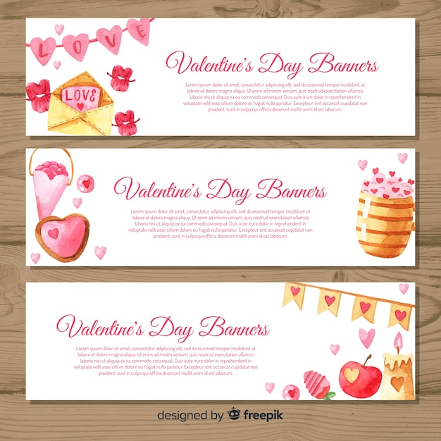 Watercolor valentine's day banners Free Vector