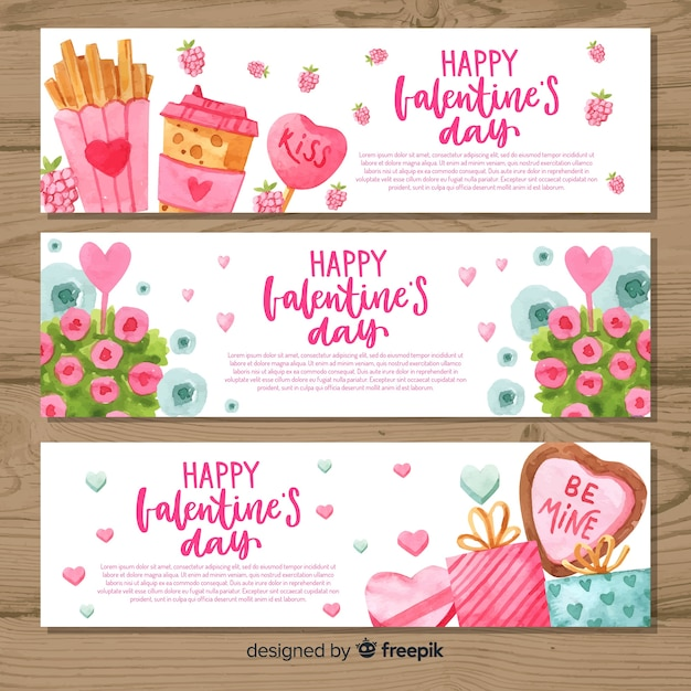 Watercolor valentine's day banners Premium Vector
