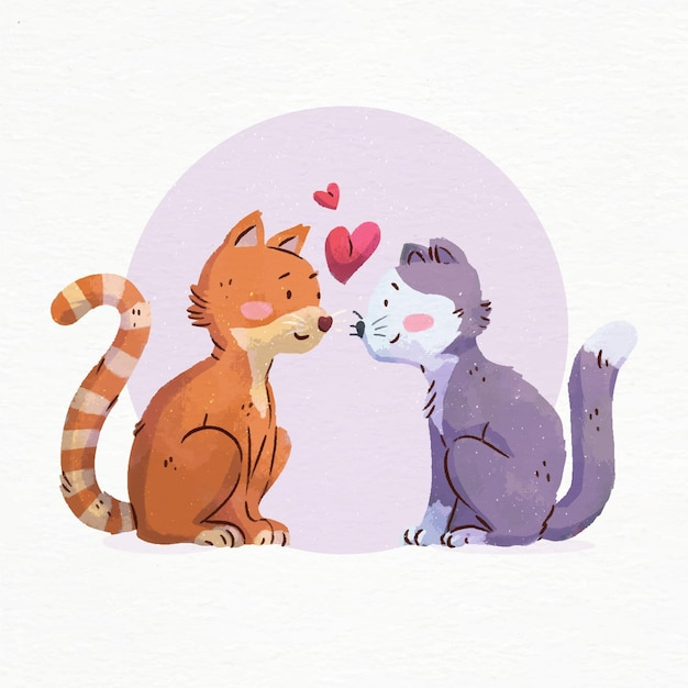 Watercolor valentine's day cats in love Free Vector