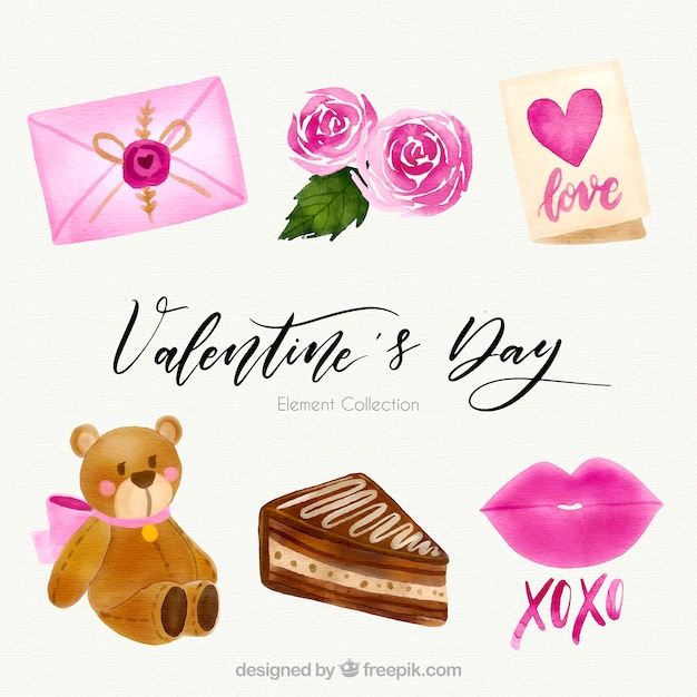 Watercolor valentine\'s day element\ collection
