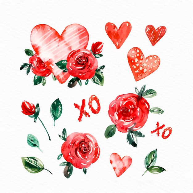 Watercolor valentine's day element collection Free Vector