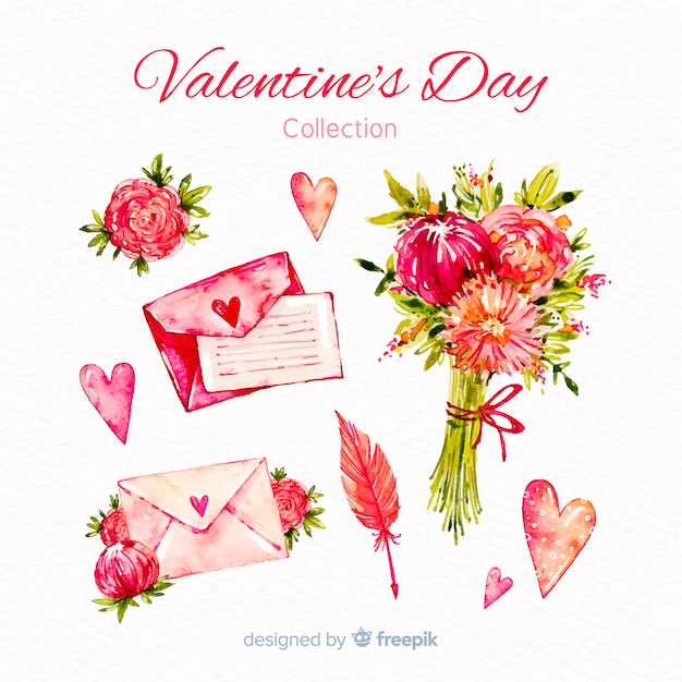 Watercolor valentine's day elements collection Free Vector
