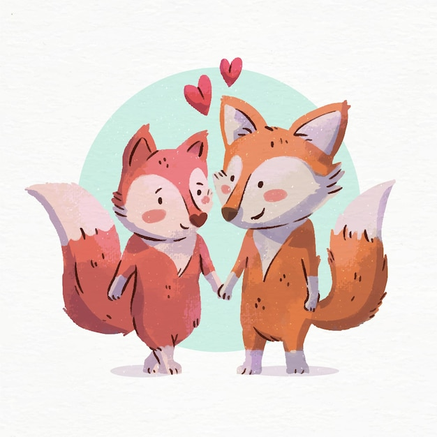 Watercolor valentine's day foxes in love Free Vector