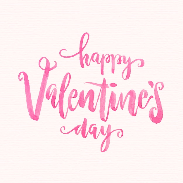 Watercolor valentine's day lettering Premium Vector