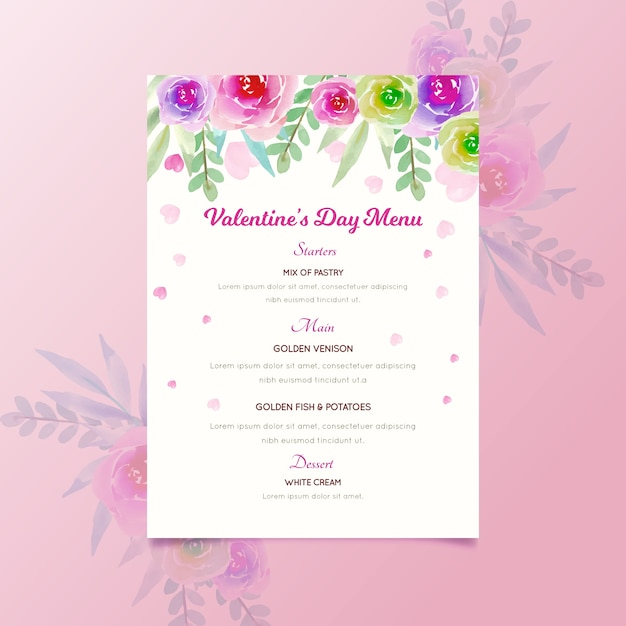 Watercolor valentine's day menu template with flowers Free Vector