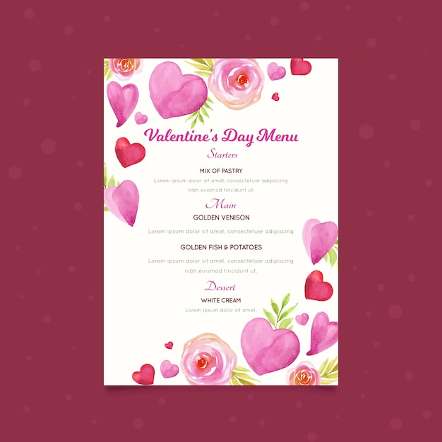 Watercolor valentine's day menu template with hearts Free Vector
