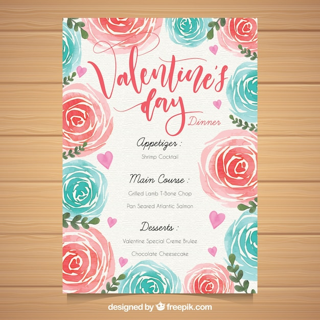 Watercolor Valentine S Day Menu Template Stock Images Page