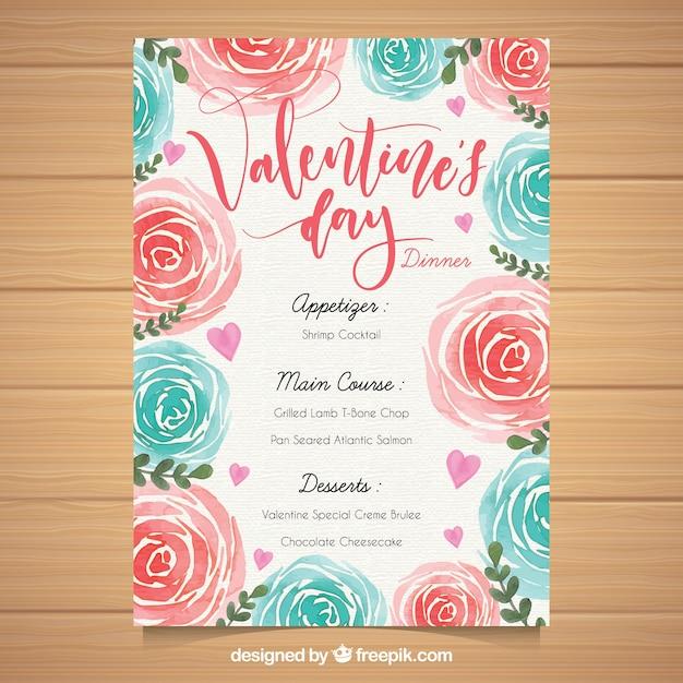 Watercolor valentine\'s day menu template