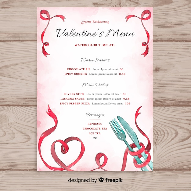 Watercolor Valentine S Day Menu Template Vector Free Download
