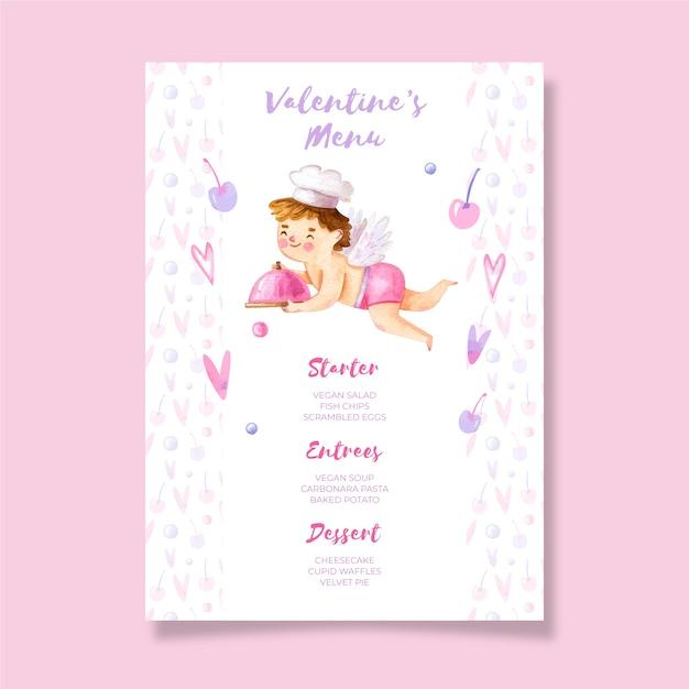 Watercolor valentine's day menu template Free Vector