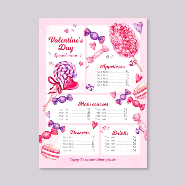 Watercolor valentine's day menu template Free Vector