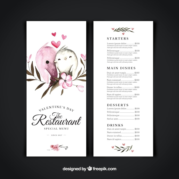 Watercolor valentine's day menu  Free Vector
