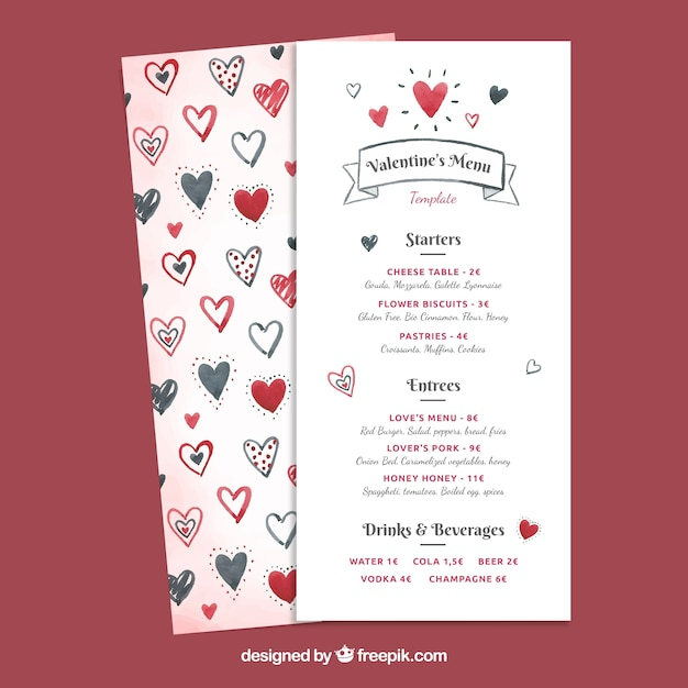 Watercolor valentine\'s day menu