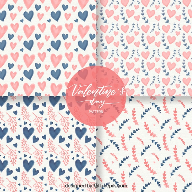Watercolor valentine\'s day pattern\ collection