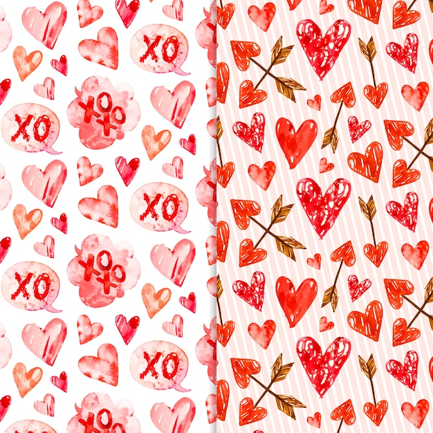 Watercolor valentine's day pattern collection Free Vector
