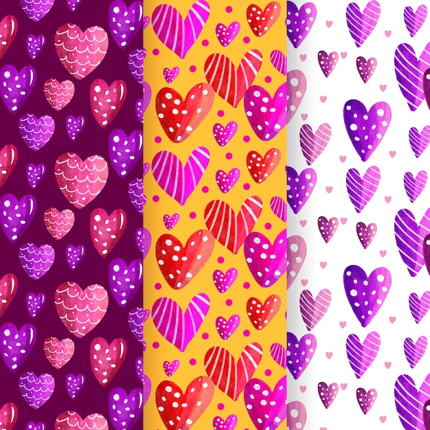 Watercolor valentine's day pattern pack Free Vector