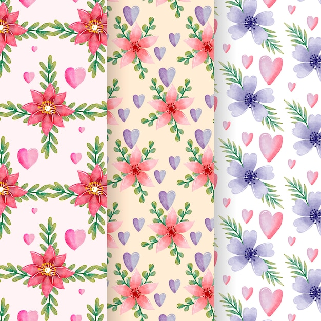 Watercolor valentine's day pattern set Free Vector