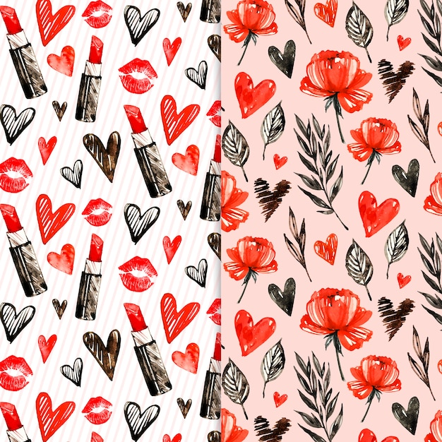 Watercolor valentine's day pattern Free Vector