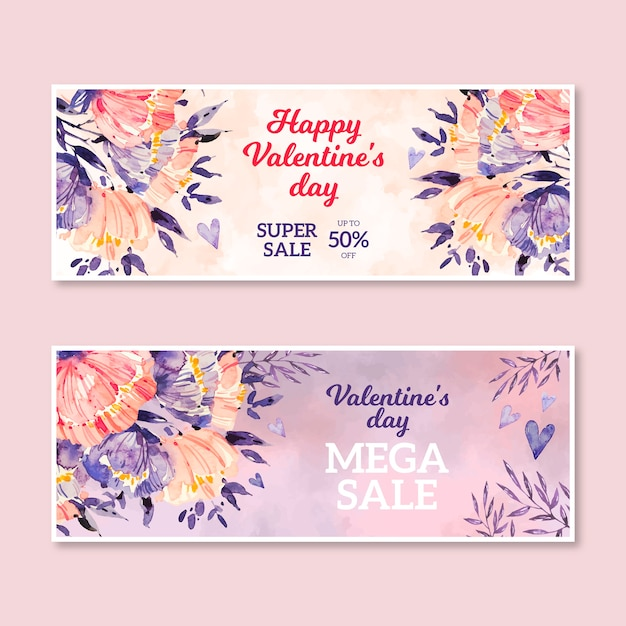 Watercolor valentine's day sale Free Vector