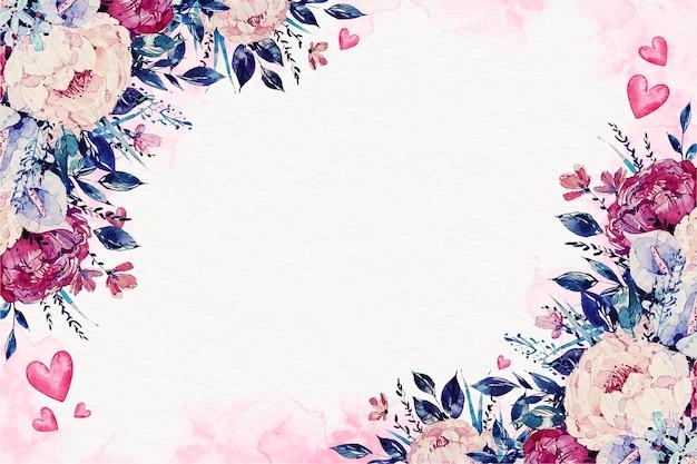 花と水彩バレンタインデーの壁紙 無料ベクター