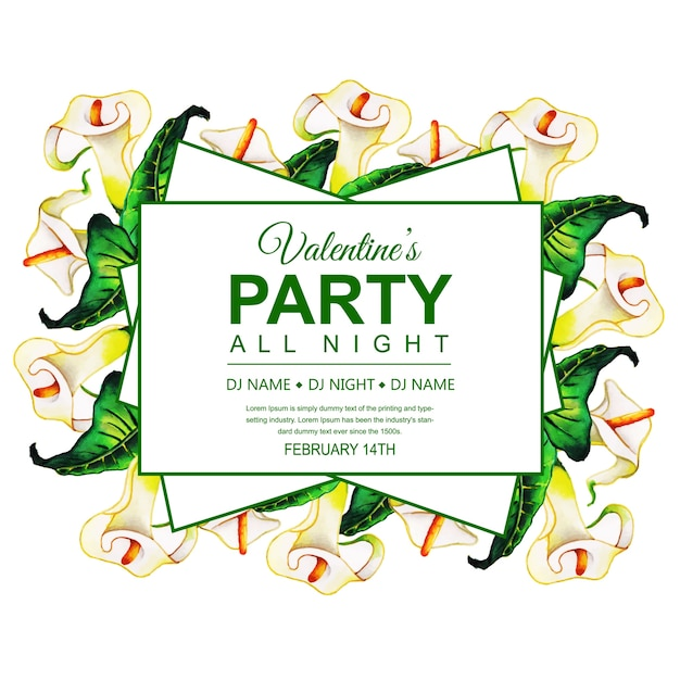 Watercolor valentines party invitation card vector free download watercolor valentines party invitation card free vector stopboris Image collections