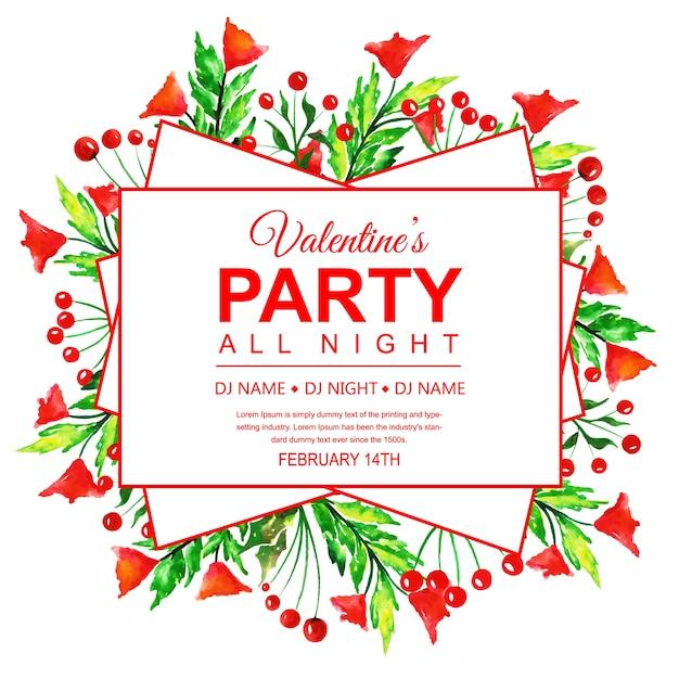 Watercolor Valentine S Party Invitation Card Vector Free