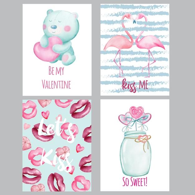watercolor valentines cards  premium vector