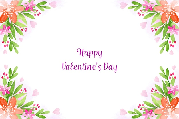 Watercolor valentines day background theme Free Vector