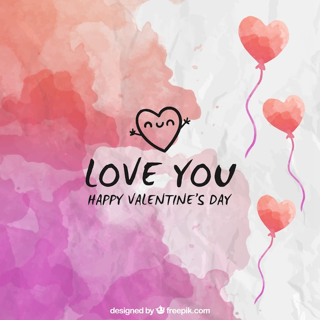 Watercolor valentines day background Free Vector