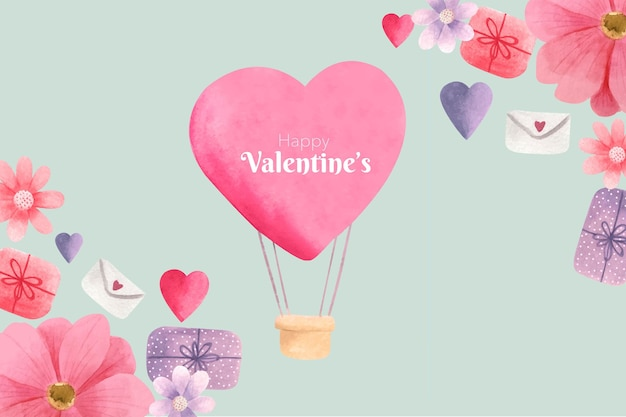 Fondo di giorno di biglietti di s. valentino dell'acquerello Vettore gratuito