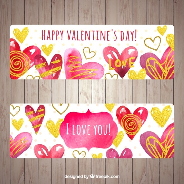 Watercolor valentines day banners with doodle hearts Free Vector