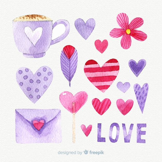 Watercolor valentines day element collection Free Vector