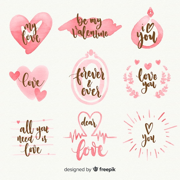 Watercolor valentines day label collection Free Vector