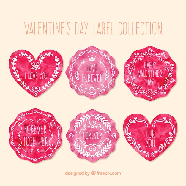 Watercolor Valentines Day Labels Collection Vector  Premium Download