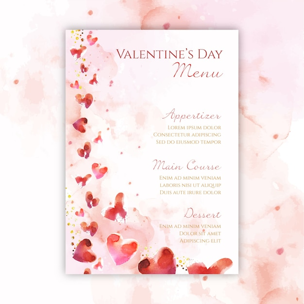 Watercolor valentines day menu template Free Vector