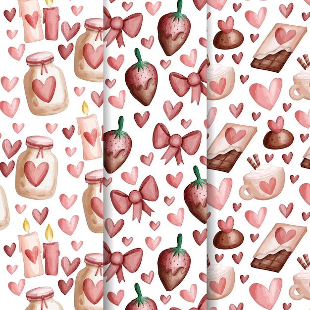 Watercolor valentines day pattern collection Free Vector