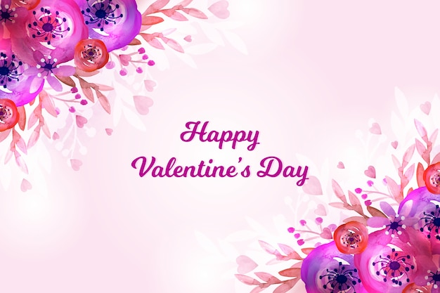 Watercolor valentines day wallpaper theme Free Vector