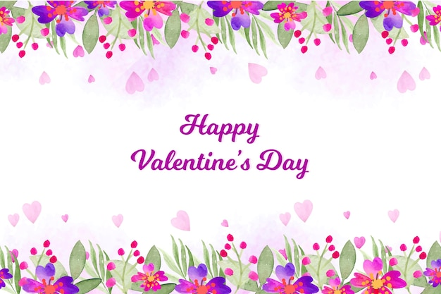 Watercolor valentines day wallpaper Free Vector