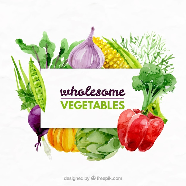 Watercolor variety of vegetables background Free Vector