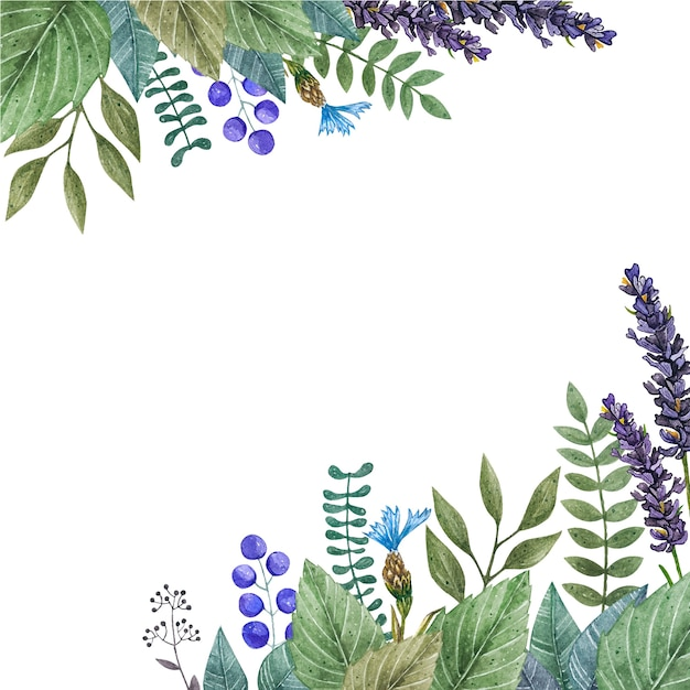 Watercolor vector frame of colorful wild flowers. Premium Vector