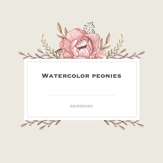 Watercolor vector frame with pastel peonies in vintage style. design background. Premium Vector